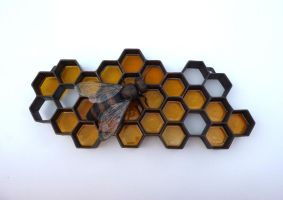 Honey bee -Honeycomb Sculpture by jeremymaronpot