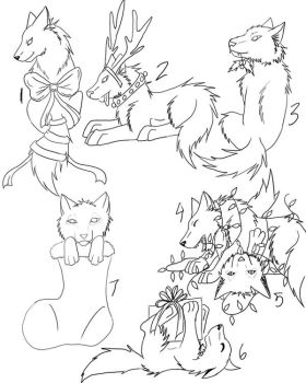 Christmas Wolf Puppies Free Adoptables 2012 by enyce122