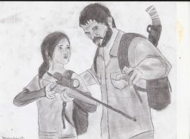 Ellie and Joel The Last of Us Fan art 7/12/13 by MarkipliteXD