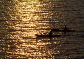 Golden Kayakers by MartinGollery