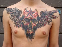 Skull with wings by viptattoo
