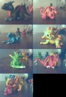 clay dragons by sparkyspawnoffire