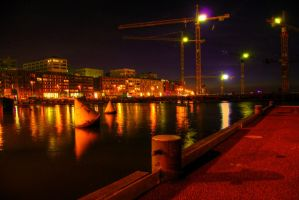 Habour at night by Atoook