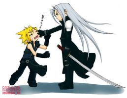 Cloud and Sephiroth by ElayneCapahony