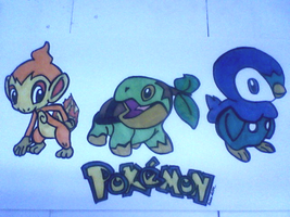Chimchar, Turtwig, and Piplup by InfinityFangX