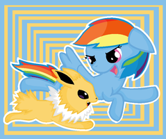 rainbow dash and Jolteon by ppgmlpkndpokemongirl