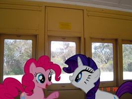 Pinkie Pie and Rarity on the Train by joeypony