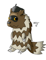 AT: Giniqua the Zigzagoon (colored) by SnivyIzTehBomb