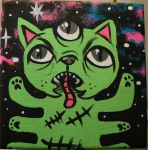 space zombie party cat by oij