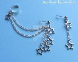 Bunch o star charms ear cuff by Julix04