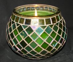 Green Mosaic Glass Candle 4 by FantasyStock