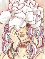 Watercolor - Girl with Carnation Hat by Doodlebotbop