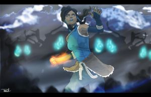 Avatar Korra Fighting by tsbranch