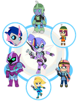 Assorted Chibis - AU Hexafusion 4 by Dragon-FangX