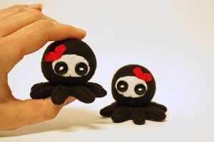 Tiny ninja octopus plush hair clips by jaynedanger