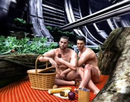 Picnic with Commander Shepard and Major Kaidan by Mo0nX