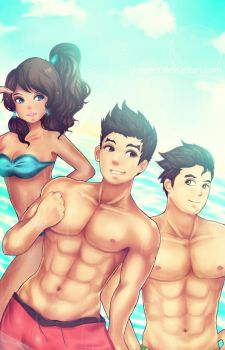 Legend of Korra :Hit the Beach by DarienDoodles