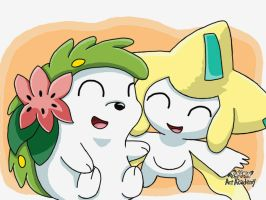 Shaymin and Jirachi by 29steph5