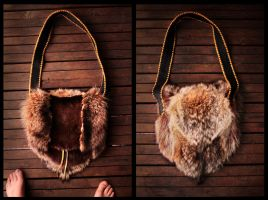 Vintage Beaver, Raccoon, and Coyote Fur Bag by NaturePunk