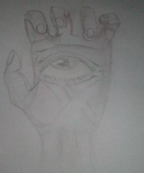Quick doodle of a hand with an eye by dragonicoverlord14