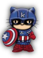 Avengers / Hello kitty deviation- CAPTAIN AMERICA by Crow-Dreamer