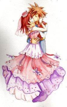 Sora and Kairi kiss by Lrme87