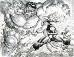 Hulk vs. Thor by FreddieEWilliamsii
