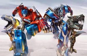 optimus and grimlock G1 and 2014 by cbpitts