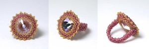 Pink/Gold Beaded Ring by kokito85