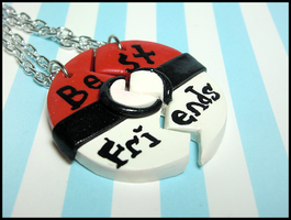 Pokeball BFF Necklace Set by GrandmaThunderpants
