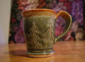 Green Tree Themed Ceramic Mug by ashynekosan