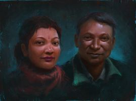 Portrait of Mom and Dad by crazypalette