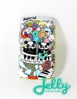 Panda in Love Doodle Painted Case by PoppinCustomArt