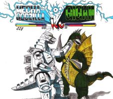 Mechagodzilla knocks out Gigan by Lersso