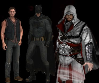 Ezio Auditore Vs Batman Vs Daryl Dixon.XNAlara. by peligronico