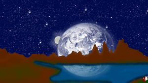 Mountain with Space Background by liongirl2289