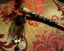 Tribal Peacock Hair Stick by kungfubellydancer
