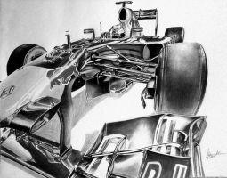 Vettel RB7 Drawing B+W by Galbatore