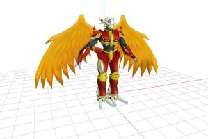 MMD Unrigged Burninggreymon DL by Clonesaiga