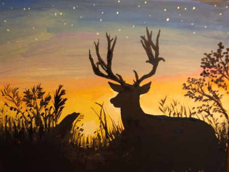 Deer at sunset, by Cassie Kinney, 2015 by sillybunnns