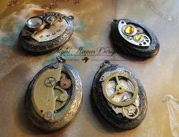 oval steampunk lockets by TheClockworkCrow