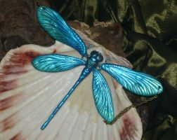 Saphire Dragonfly - Calopteryx virgo - Necklace by Ganjamira