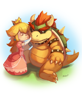 Peach and Bowser by BloodnSpice