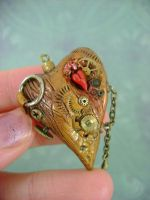 Golden Rugged Steampunk Heart by monsterkookies