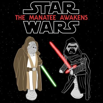 Star Wars The Manatee Awakens T-Shirt by maxevry