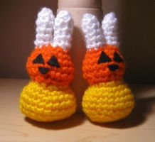 Crochet Candy Corn Bunnies by HaleyGeorge