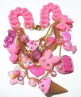 Pink Candy Crunch necklace by pinkminx