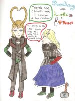 Bowling with Loki and Thor by AbbyCatWolff