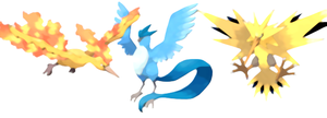 Legendary Birds: Moltres, Articuno, Zapdos by scriptureofthescribe