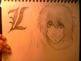 Drawing of L from Death Note by hklovesboba